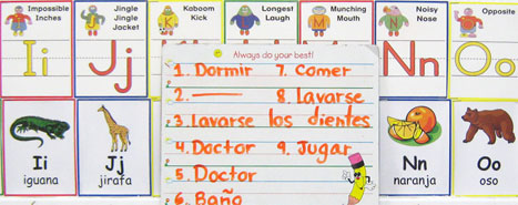 spanish bilingual program word and letter examples